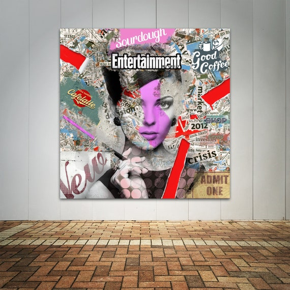 Abstract Modern Collage Art Print of Female Face Digital Painting Printed on Canvas or Paper, Mix media, Home Decore,