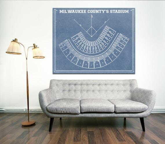 Vintage Print of Milwaukee County Stadium Baseball Seating Chart on Photo Paper, Matte Paper or Stretched Canvas