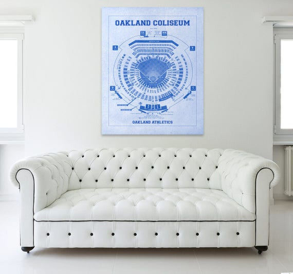 Vintage Print of Oakland Coliseum Seating Chart Oakland Athletics Baseball Blueprint on Photo Paper, Matte Paper or Stretched Canvas