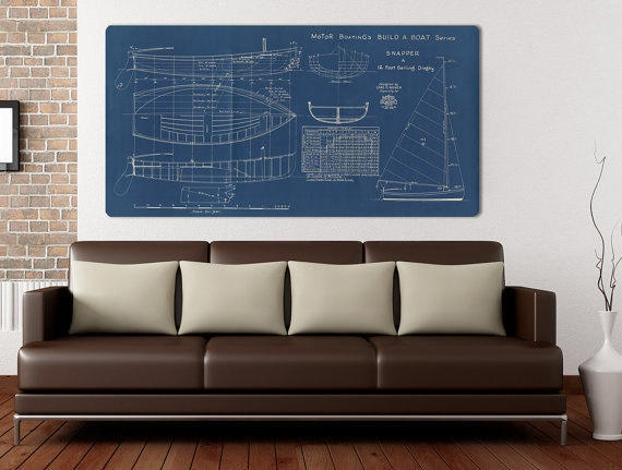 Vintage Print of SNAPPER Runabout Diagram Line Drawing Schematic Blueprint on Matte Paper, Photo Paper or Stretched Canvas