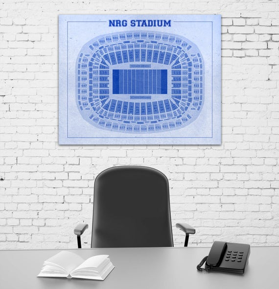 Print of Vintage NRG Stadium Seating Chart Seating Chart on Photo Paper, Matte paper or Canvas