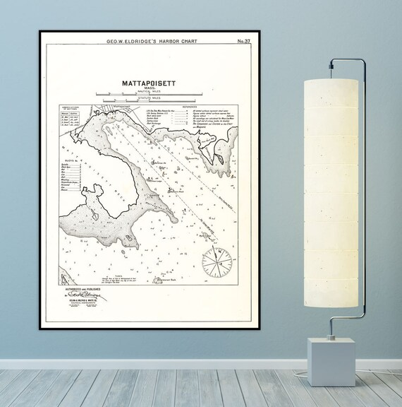 Antique Print of Mattapoisett, Massachusetts Nautical Chart on your choice of Photo Paper, Matte Paper or Canvas Giclee