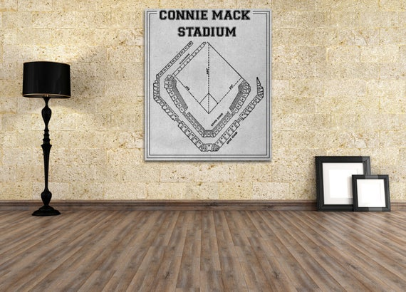 Vintage Print of Connie Mack Stadium Seating Chart Philadelphia Athletics Baseball Blueprint on Photo Paper, Matte Paper or Stretched Canvas