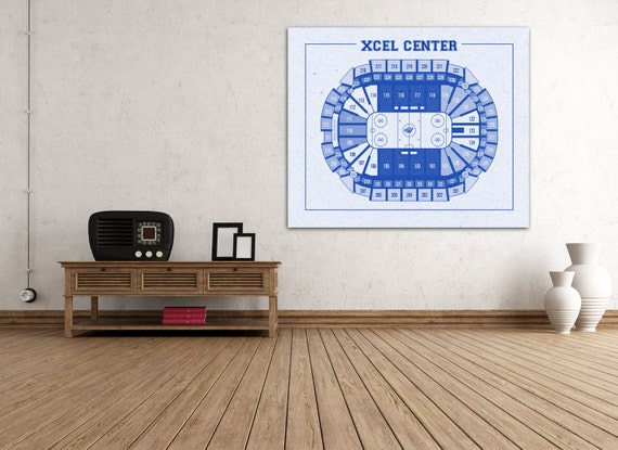 Vintage Xcel Center Diagram on Photo Paper, Matte paper or Canvas Sports Stadium Tickets Art Home Decor Line Drawing Minnesota Wilds