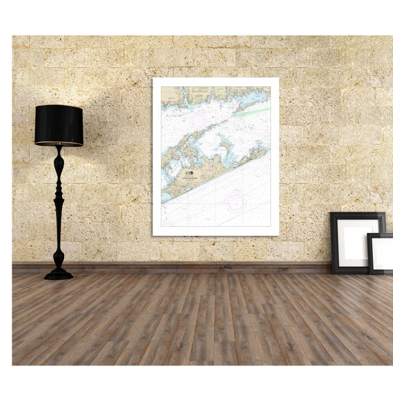 Nautical Chart Print of Long Island Sound - Eastern Part. Printed on Canvas, Matter Paper, or Photo Paper.