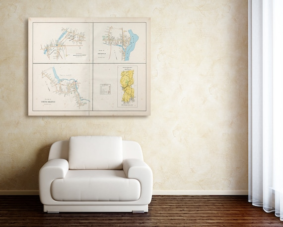 Print of Antique Map of Dighton Massachusetts Featuring Easton on Photo Paper, Matte Paper and Stretched Canvas