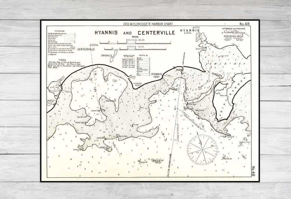 Antique Print Of A Hyannis Centerville Cape Cod Map On Your Choice