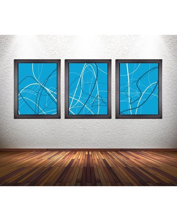 Set of 3 Blue Themed Abstract Line Art Prints on Photo Paper, Canvas, or 300 GSM Heavy Matte Paper