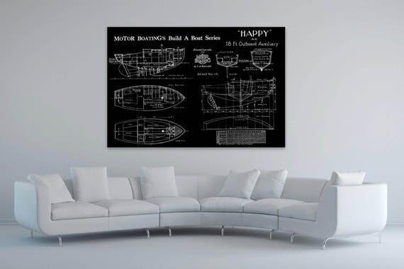 Print of Vintage HAPPY Boat Blueprint from Motor Boating's Build a Boat Series on Your Choice of Matte Paper, Photo Paper, or Canvas