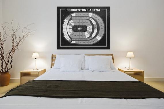 Vintage Nashville Predators Bridgestone Arena on Photo Paper, Matte paper or Canvas Sports Stadium Tickets Art Home Decor Line Drawing