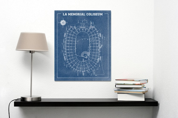 Vintage Football College LA Memorial Coliseum Paper or Canvas, Gift for dad, Dorm Room Art, Wall Decore, Man Cave, nfl,