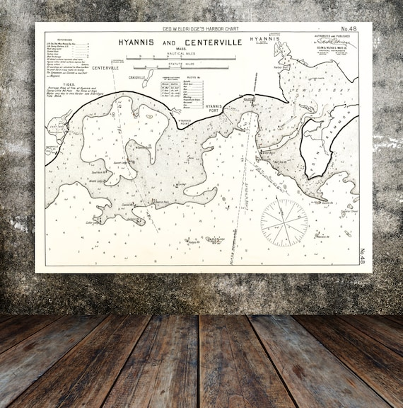 Antique Print of a Hyannis Centerville Cape Cod Map on your choice of Photo Paper, Matte Paper or Canvas Giclee