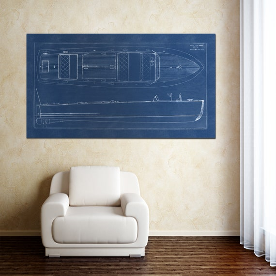Print of Vintage Motor Boat Blueprint St. Paul  on Your Choice of Matte Paper, Photo Paper, or Canvas