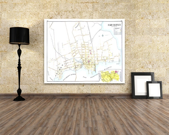Print of Antique Map of Fairhaven Massachusetts on Photo Paper, Matte Paper and Stretched Canvas