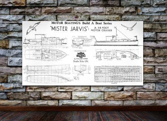 Print of Vintage MISTER JARVIS Boat Blueprint from Motor Boating's Build a Boat Series on Your Choice of Matte Paper, Photo Paper, or Canvas