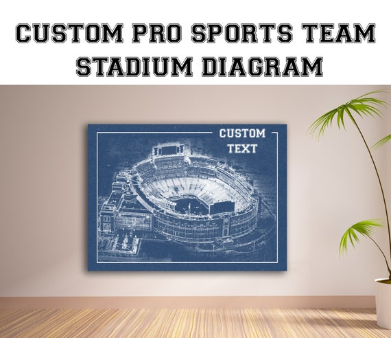 CUSTOM - Your Pro Sports Team Stadium Diagram Interior or Exterior on Photo Matte or Canvas