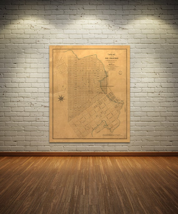 Print of Antique Map of the City of Francisco on Photo Paper, Matte Paper or Stretched Canvas