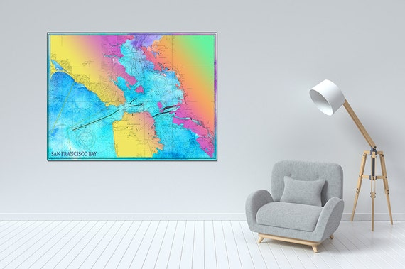 Artistic Print of San Francisco Bay Chart on your choice of Photo Paper, Matte Paper or Canvas Giclee