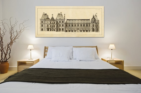Print of Vintage Elevation Plan of Luxembourg Palace in France on Your Choice of Either Photo Paper, Matte Paper, or Stretched Canvas