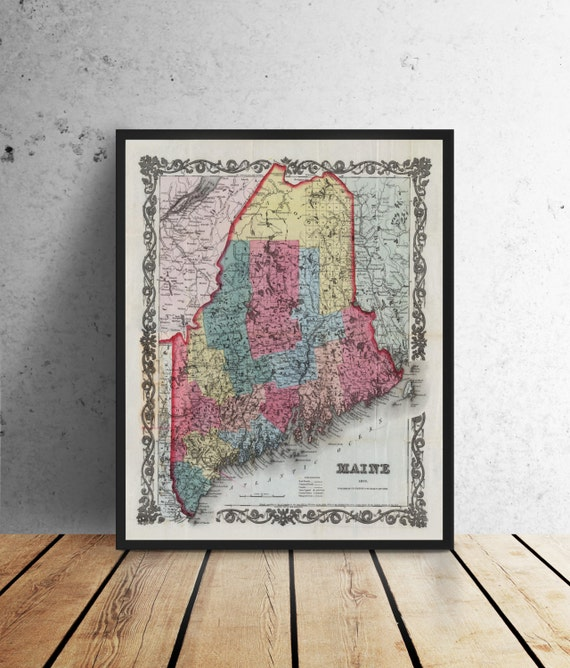 Antique Print of Maine on your choice of Photo Paper, Matte Paper or Stretched Canvas