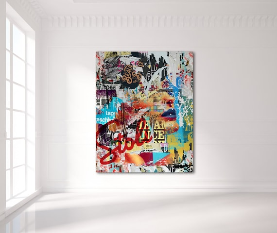 Print of modern abstract collage painting with woman model on canvas photo paper or matte paper, free shipping!