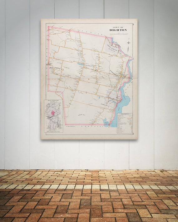 Print of Antique Town Map of Dighton Massachusetts  on Photo Paper, Matte Paper and Stretched Canvas