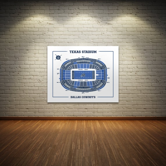Print of Vintage OLD Texas Stadium Seating Chart Seating Chart on Photo Paper, Matte paper or Canvas
