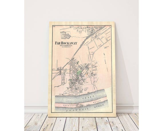 Print of Antique Map of Far Rockaway of Hempstead on Photo Paper Matte Paper or Stretched Canvas