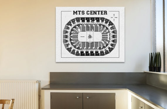 Vintage Print MTS Center Winnipeg Jets Arena on Photo Paper, Matte paper or Canvas Sports Stadium Tickets Art Home Decor Line Drawing