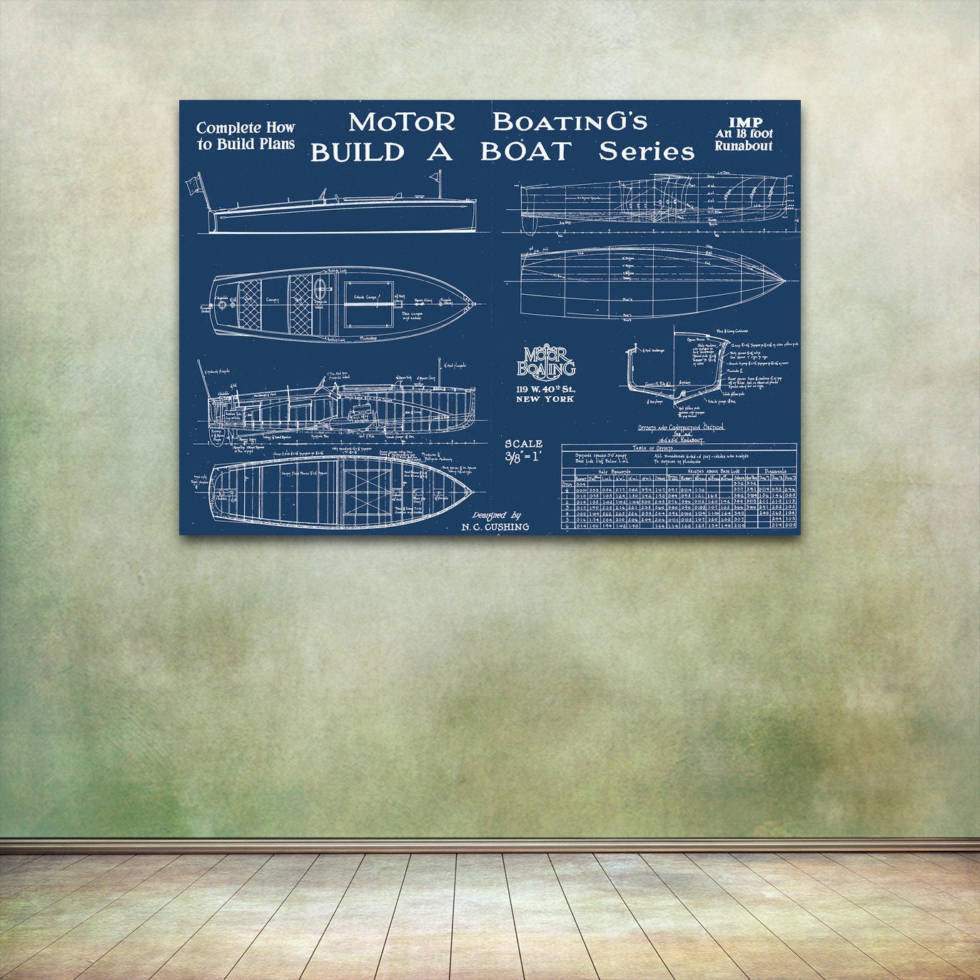 Print of vintage imp boat blueprint from motor boatings build a print of vintage imp boat blueprint from motor boatings build a boat series on your choice of matte paper photo paper or canvas malvernweather Gallery