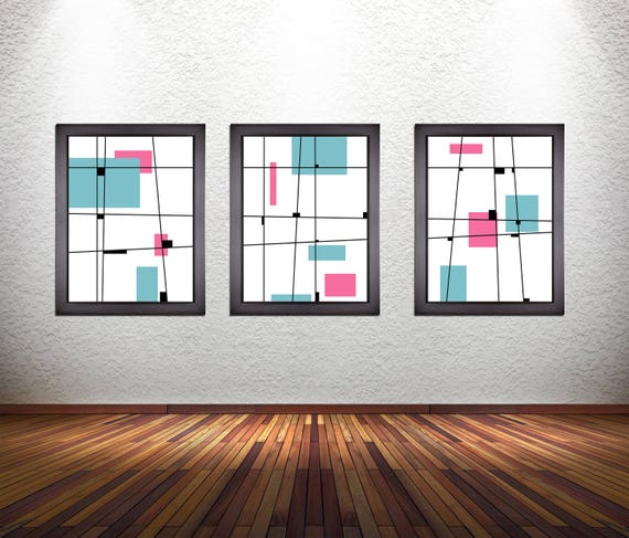 3 Piece Set of Minimalist Modern Abstract Art Prints on Premium Photo Paper, Heavy 300 GSM Matte Paper, or Stretched Canvas