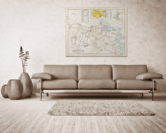 Print of Antique Town Map of Dartmouth Massachusetts  on Photo Paper, Matte Paper and Stretched Canvas