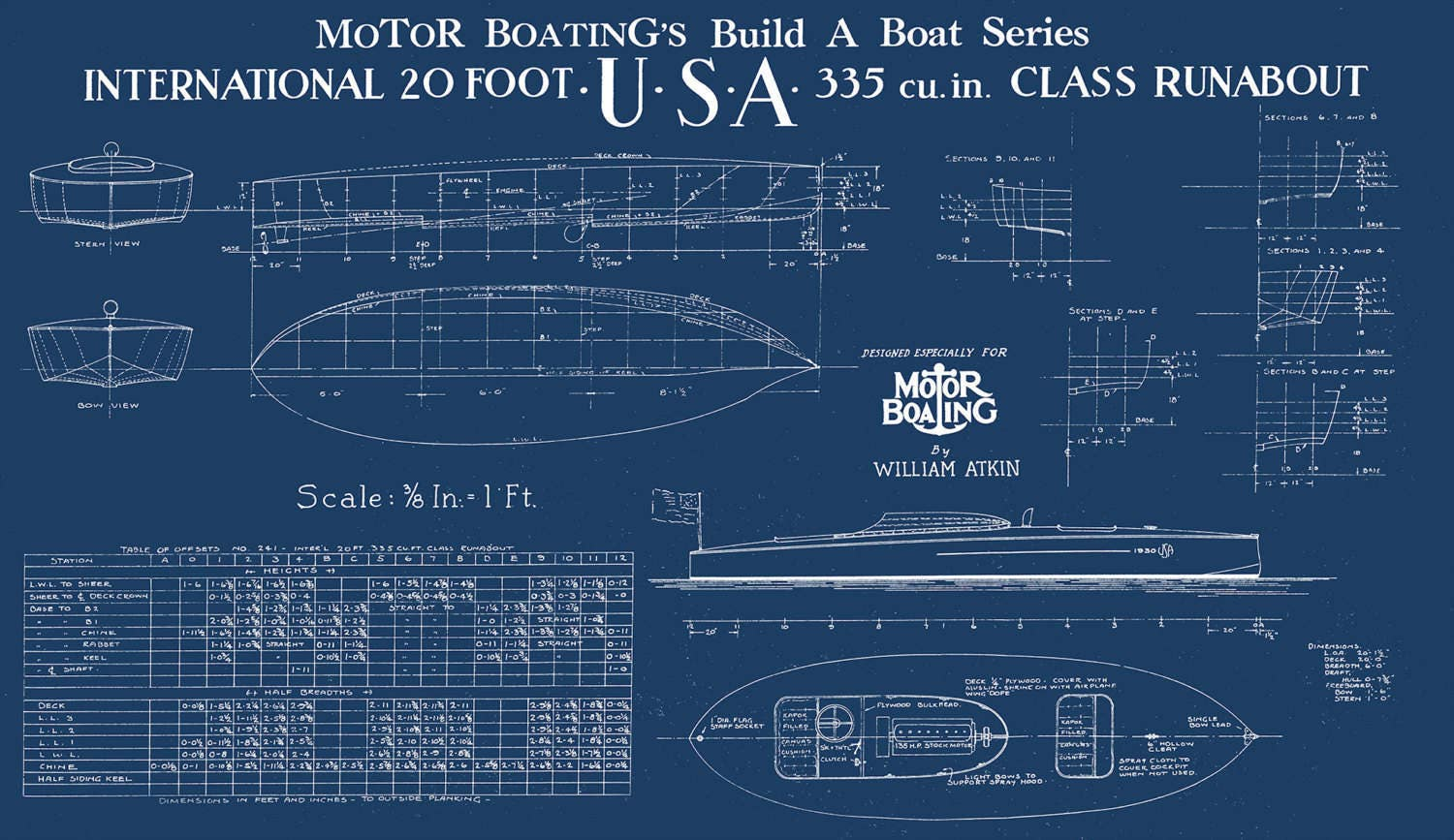 Vintage Print Of Usa Runabout Diagram Line Drawing Schematic Blueprint On Matte Paper  Photo