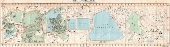Print of Vintage Long Island Map Central Park manhattan on Photo Paper Matte Paper or Canvas Art Decor Giclee Antique New York ny