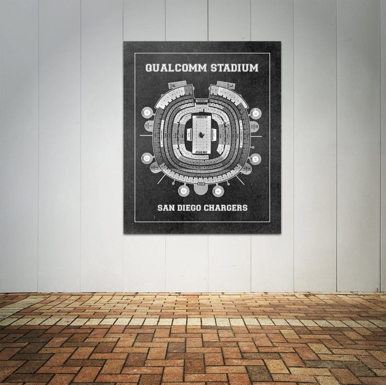 Print Of Vintage Qualcomm Stadium Seating Chart Seating Chart On Photo Paper Matte Paper Or Canvas