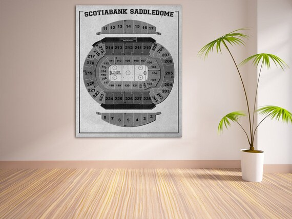 Print of Vintage Scotiabank Saddledome Seating Chart on Your Choice of Photo Paper, Matte Paper, or Stretched Canvas