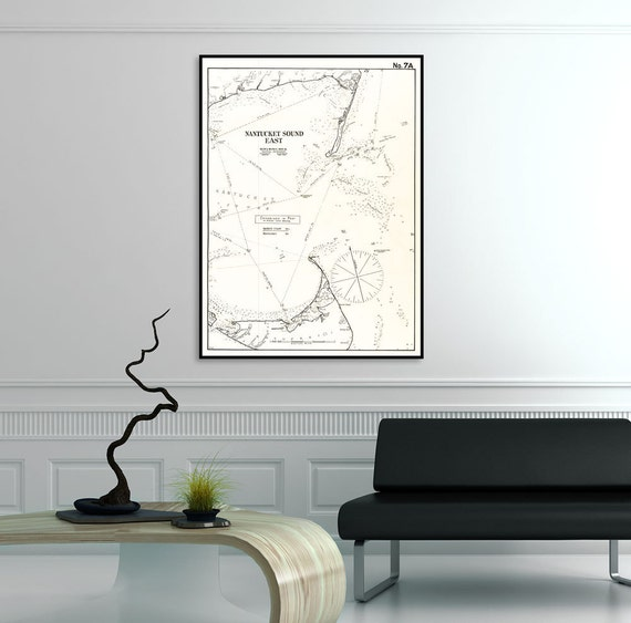 Antique Print of Nantucket Sound East Massachusetts Cape Cod Map on your choice of Photo Paper, Matte Paper or Canvas Giclee