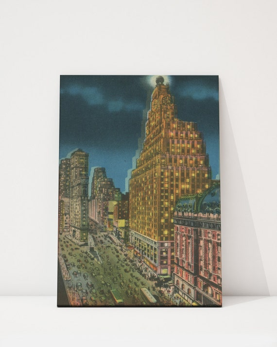 Vintage Style Print of Paramount and Times Building on Photo Paper, Matte Paper or Stretched Canvas