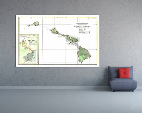 Print of Antique Map of Hawaiian Islands Survey on Photo Paper Matte Paper or Stretched Canvas