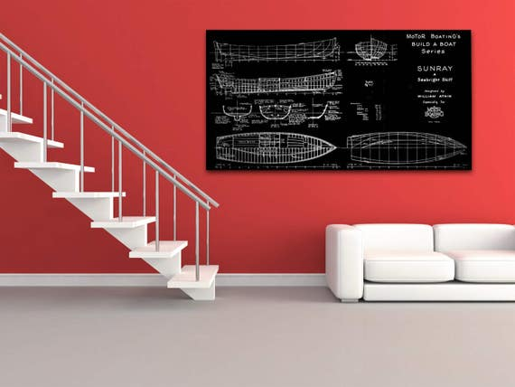 Print of Vintage SUNRAY Boat Blueprint from Motor Boating's Build a Boat Series on Your Choice of Matte Paper, Photo Paper, or Canvas