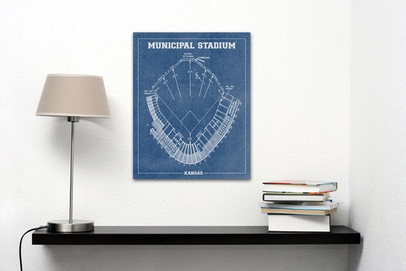 Vintage Style Print of Kansas Municipal Stadium on Photo Paper, Matte Paper, or Stretched Canvas