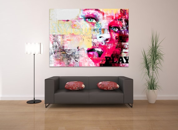 Print of contemporary abstract collage painting with female face on canvas photo paper or matte paper. Modern art. Free shipping!