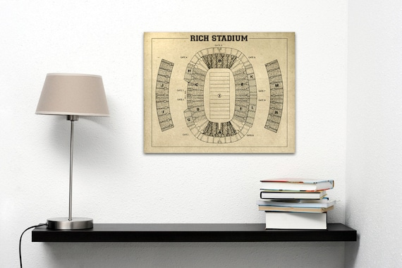 Print of Vintage Rich Stadium Seating Chart Seating Chart on Photo Paper, Matte paper or Canvas