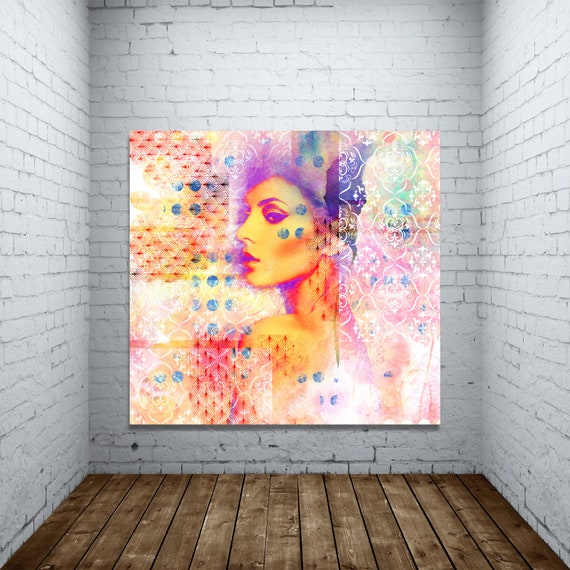 Fine Art Print of Abstract Female Portrait Modern Art with Pop Art Accent. Printed on Canvas, Photo Paper, and Matte Paper. Free Shipping!