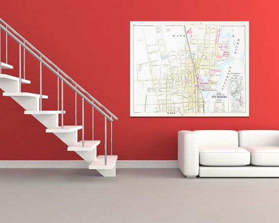 Print of Antique Town Map of New Bedford Ward 1 Massachusetts on Photo Paper, Matte Paper and Stretched Canvas