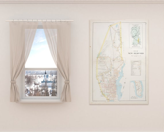 Print of Antique Town Map of New Bedford Massachusetts on Photo Paper, Matte Paper and Stretched Canvas
