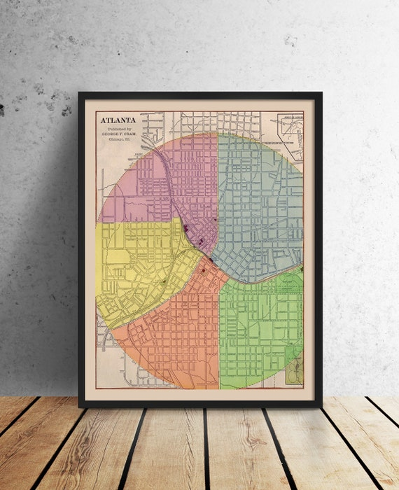 Print of Antique Town Map of Atlanta Georgia on Photo Paper, Matte Paper or Stretched Canvas