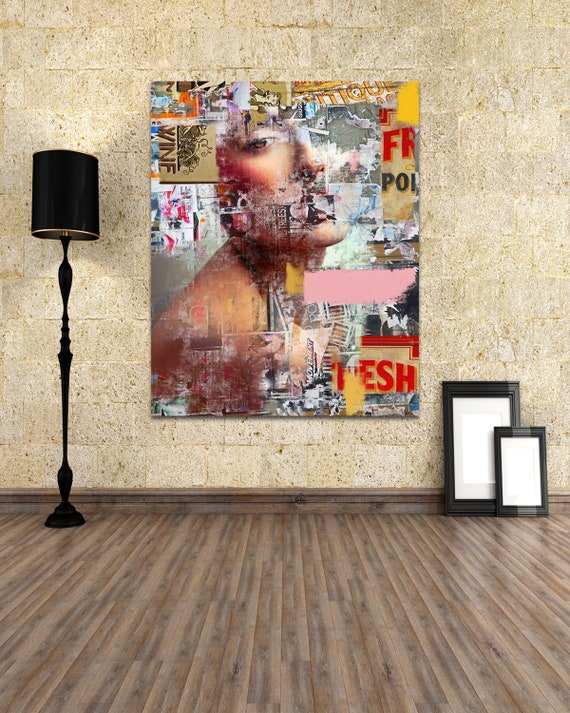 Modern Art Print on Photo Paper, Matte Paper, or Canvas of Female Portrait Collage Painting. Free Shipping!