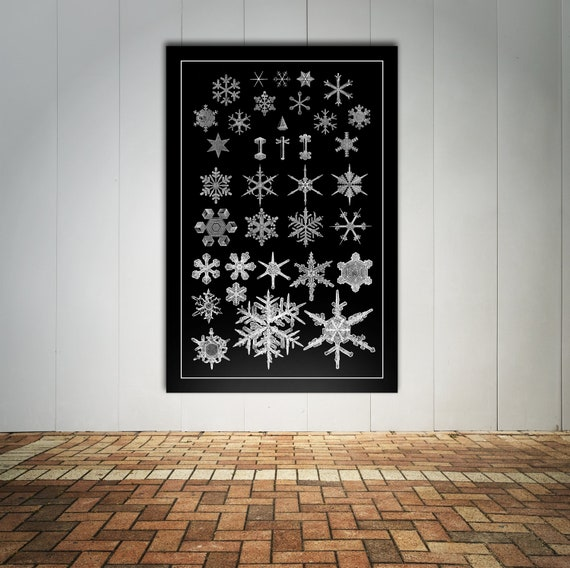 Print of Antique Snowflake Diagram Drawings on Photo Paper, Matte Paper or Stretched Canvas