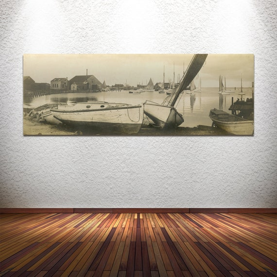 Print of Vintage Photo Featuring Sail Boats, Harbor, and Dock in